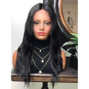 DAVANY  LONG BLACK STRAIGHT LACE FRONT WIG